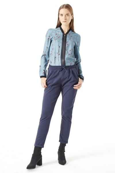 Beli Lastikli Duble Paça Pantolon (Mavi) - Thumbnail