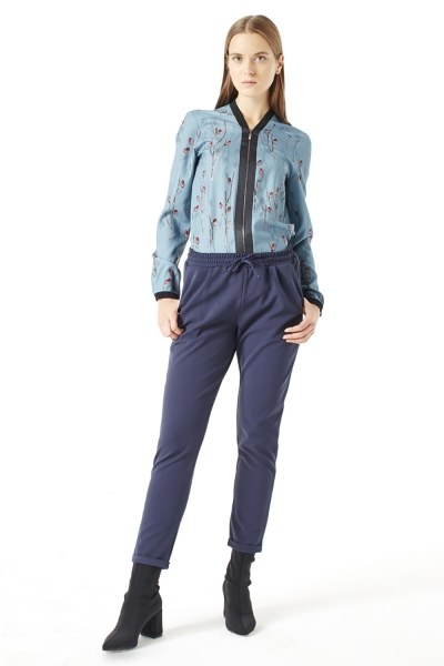 MIZALLE Elasticated Waist Cuffed Trousers (Blue)