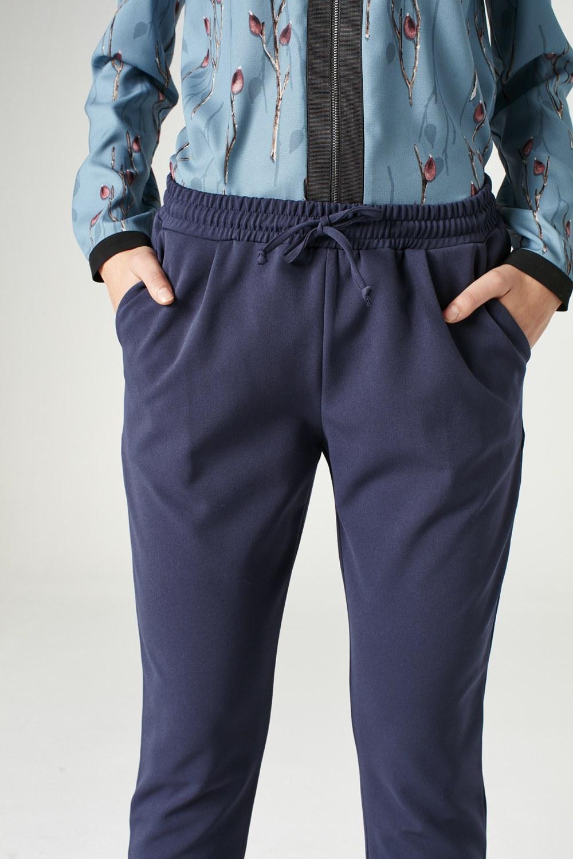 MIZALLE Beli Lastikli Duble Paça Pantolon (Mavi) (1)