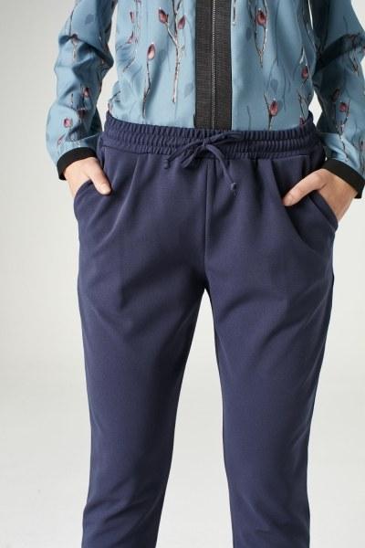 MIZALLE - Beli Lastikli Duble Paça Pantolon (Mavi) (1)