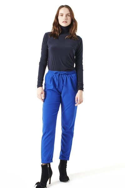 MIZALLE Elasticated Waist Cuffed Trousers (Sax)