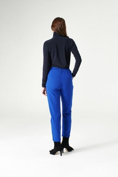 MIZALLE - Elasticated Waist Cuffed Trousers (Sax Blue) (1)