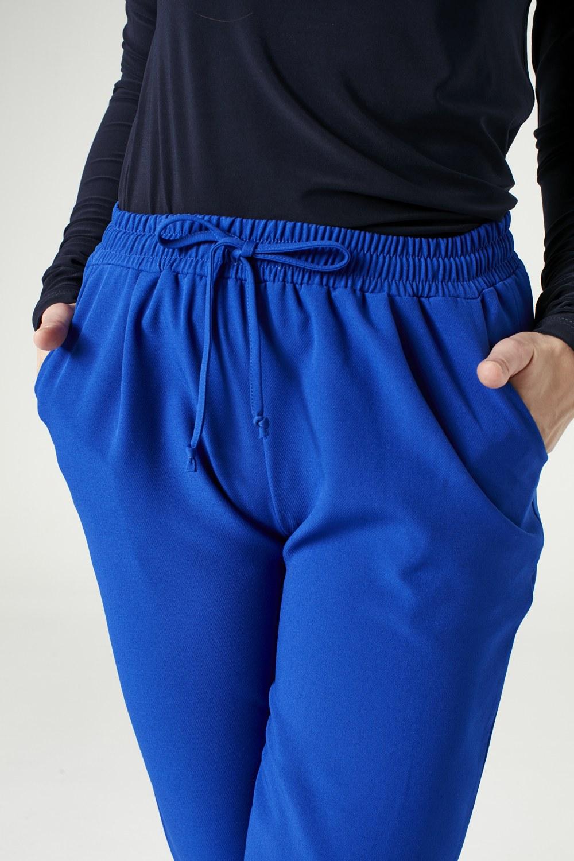 MIZALLE Beli Lastikli Duble Paça Pantolon (Saks) (1)
