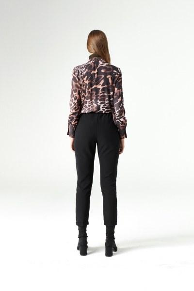 Beli Lastikli Duble Paça Pantolon (Siyah) - Thumbnail