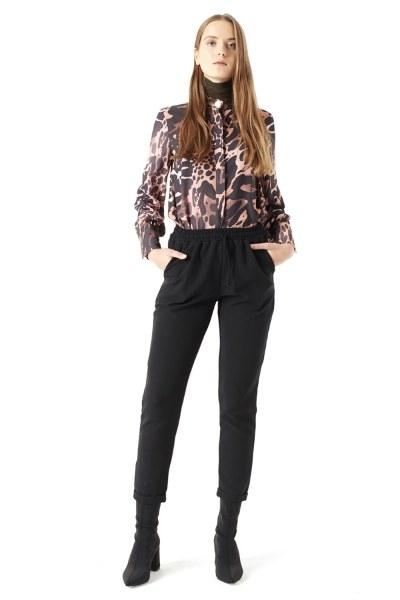 MIZALLE Beli Lastikli Duble Paça Pantolon (Siyah)