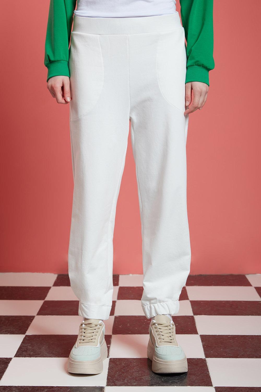 Basic Beli Lastikli Jogger Pantolon (Ekru)
