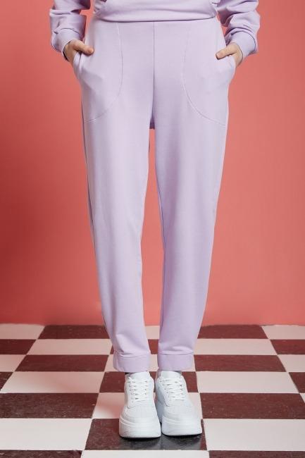 Basic Beli Lastikli Jogger Pantolon (Lila) - Thumbnail