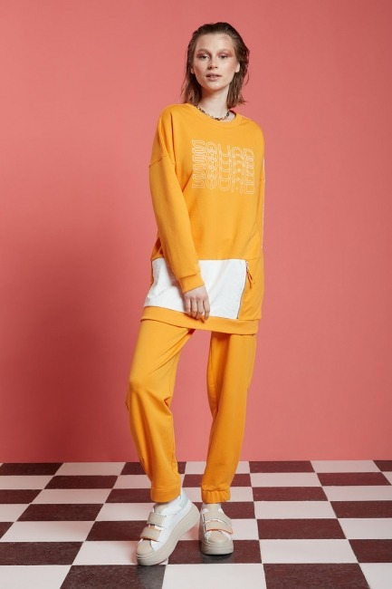 Mizalle - Basic Beli Lastikli Jogger Pantolon (Mango)