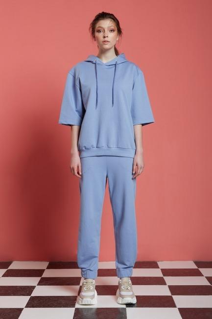 Mizalle - Basic Beli Lastikli Jogger Pantolon (Mavi)