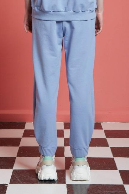 Basic Beli Lastikli Jogger Pantolon (Mavi) - Thumbnail