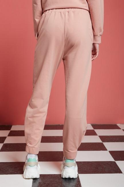 Basic Beli Lastikli Jogger Pantolon (Nude) - Thumbnail