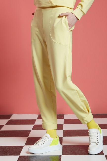 Basic Beli Lastikli Jogger Pantolon (Sarı) - Thumbnail