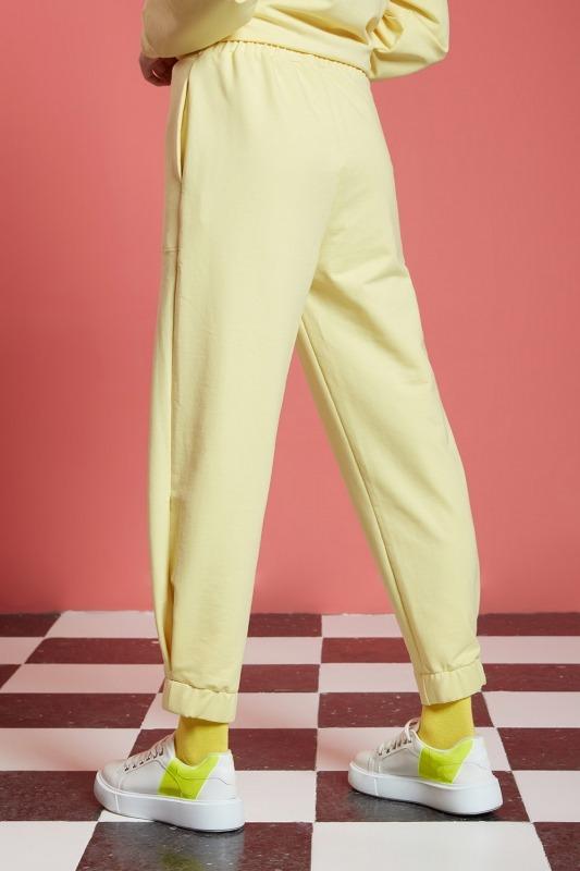Basic Beli Lastikli Jogger Pantolon (Sarı)