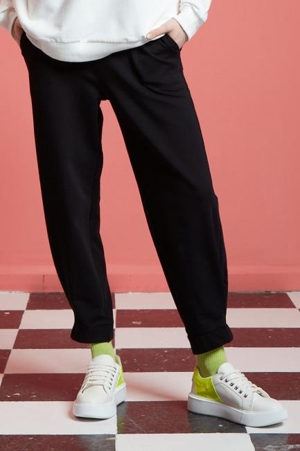 Basic Beli Lastikli Jogger Pantolon (Siyah) - Thumbnail