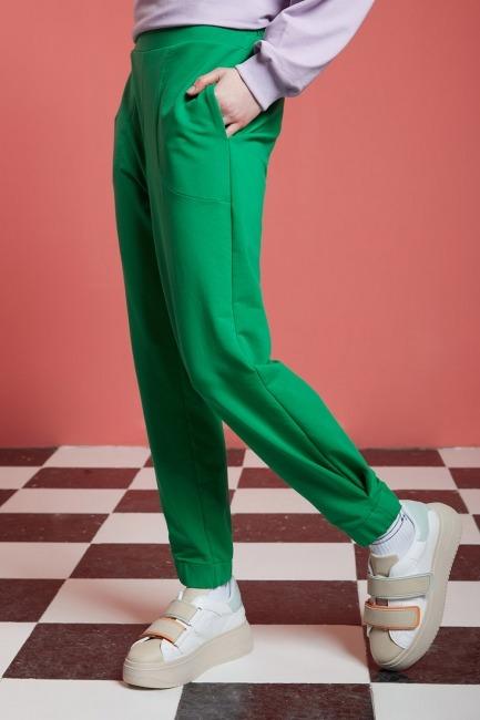 Basic Beli Lastikli Jogger Pantolon (Yeşil) - Thumbnail