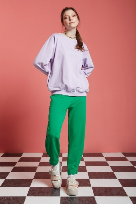 Mizalle - Basic Beli Lastikli Jogger Pantolon (Yeşil)