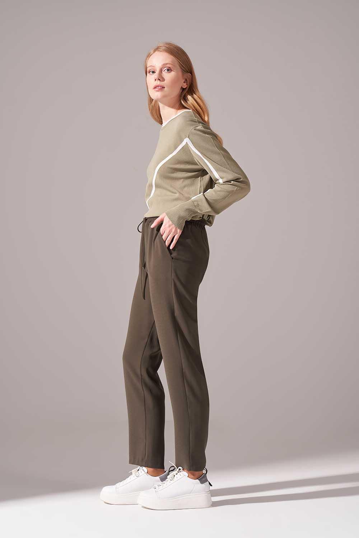 Beli Lastikli Krep Pantolon (Haki)