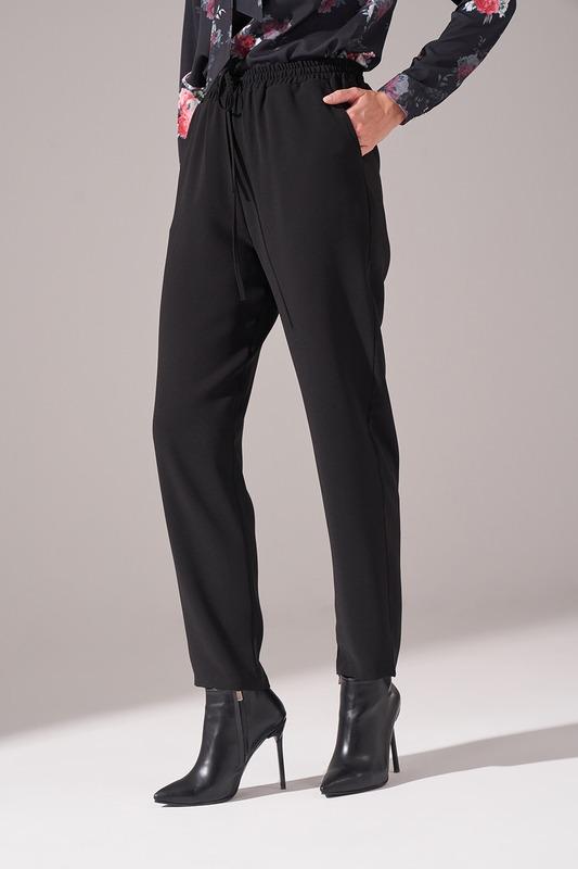 Beli Lastikli Krep Pantolon (Siyah)
