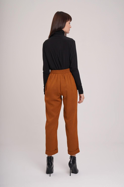 Beli Lastikli Pile Detaylı Pantolon (Taba)