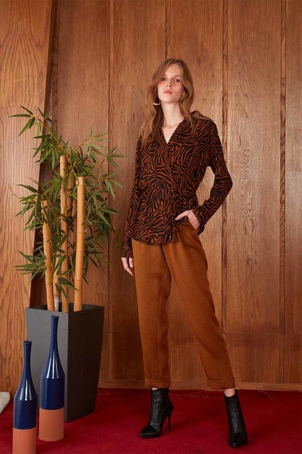 Beli Lastikli Pile Detaylı Pantolon (Taba) - Thumbnail