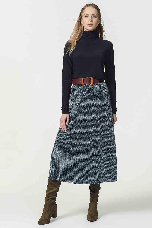 MIZALLE Glittered Skirt With Elastic Waist (Blue) (1)