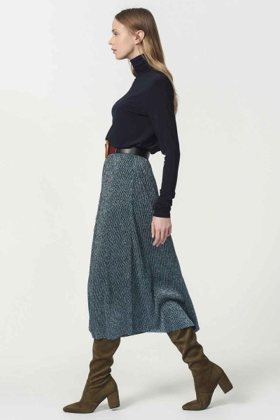 Glittered Skirt With Elastic Waist (Blue) - Thumbnail