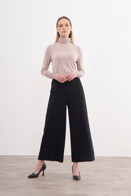 Mizalle - Beli Lastikli Siyah Culotte Pantolon