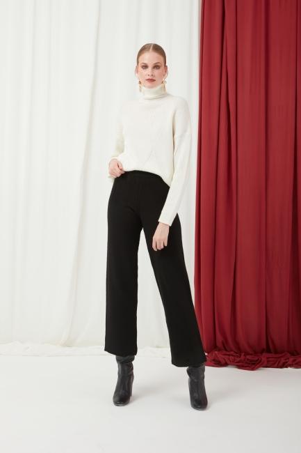 Mizalle - Beli Lastikli Siyah Triko Pantolon