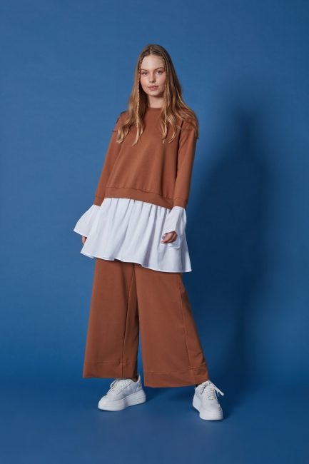 Mizalle - Beli Lastikli Taba Culotte Pantolon