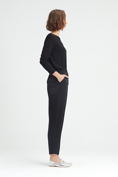 MIZALLE - Waist-Pleated Trousers (Black) (1)