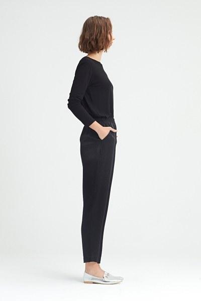 MIZALLE - Beli Pileli Pantolon (Siyah) (1)