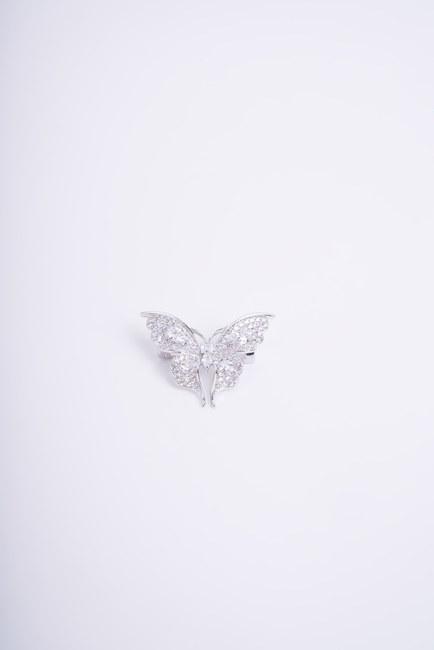Mizalle - Beyaz Taşlı Kelebek Broş
