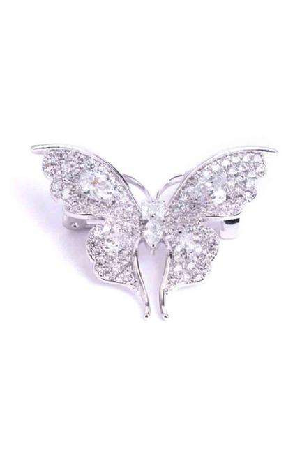 Mizalle - Beyaz Taşlı Kelebek Broş (1)