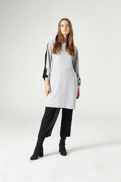 MIZALLE - Bicolored Tunic (Grey) (1)