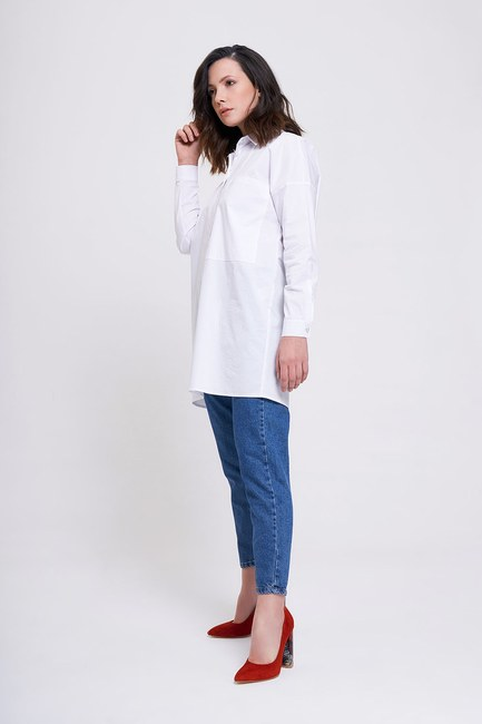 MIZALLE - قميص بجيب كبير (أبيض) (1)