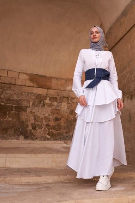 MIZALLE - Bird Eye Detailed Dress (Ecru) (1)
