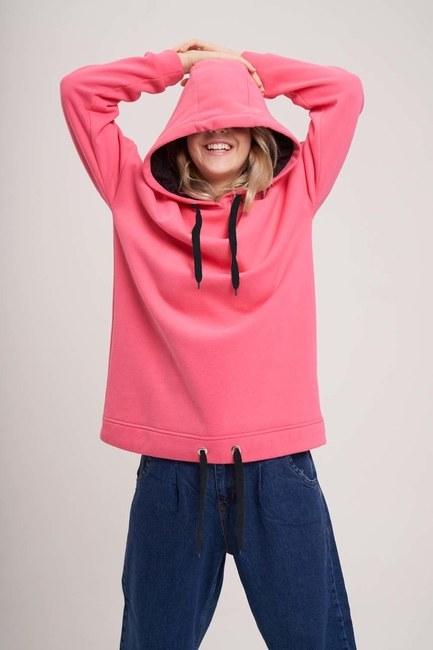 MIZALLE YOUTH - Bird's Eye Lace-up Sweatshirt (Pink) (1)