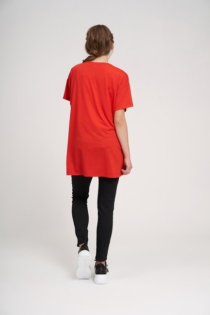 Crew Neck Basic T-Shirt (Red) - Thumbnail