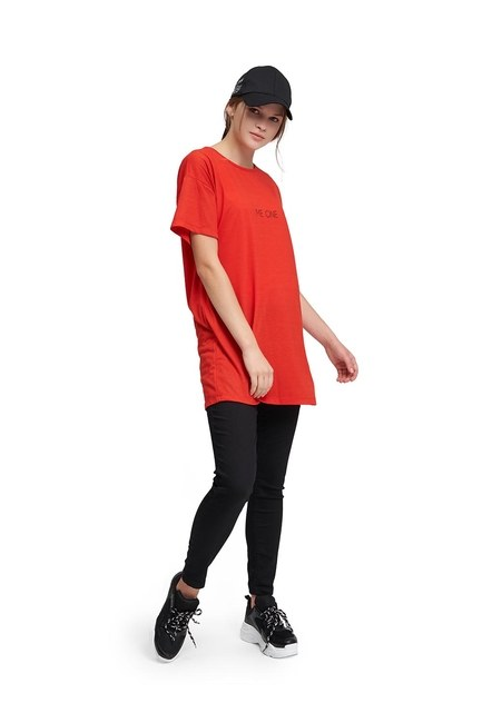 MIZALLE YOUTH Bisiklet Yaka Basic T-Shirt (Kırmızı)