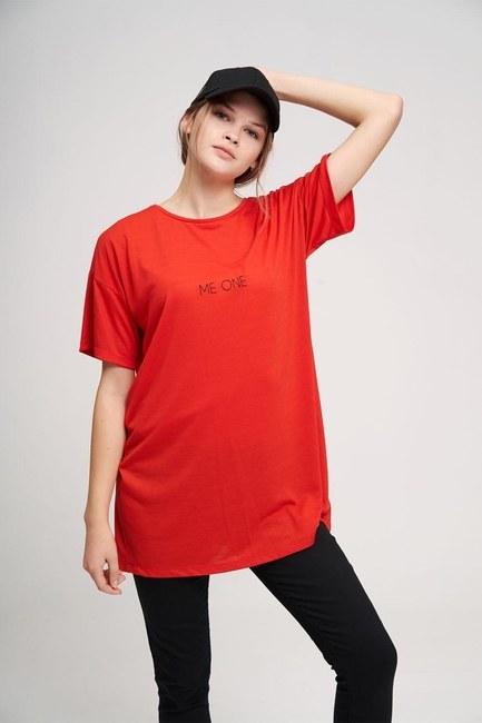 MIZALLE YOUTH - Bisiklet Yaka Basic T-Shirt (Kırmızı) (1)