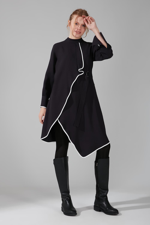 Mizalle - Biye Detaylı Tunik Elbise (Lacivert)