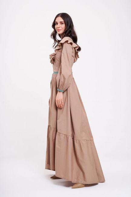 Biye Fırfırlı Uzun Poplin Elbise (Bej) - Thumbnail