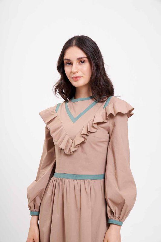 Biye Fırfırlı Uzun Poplin Elbise (Bej)