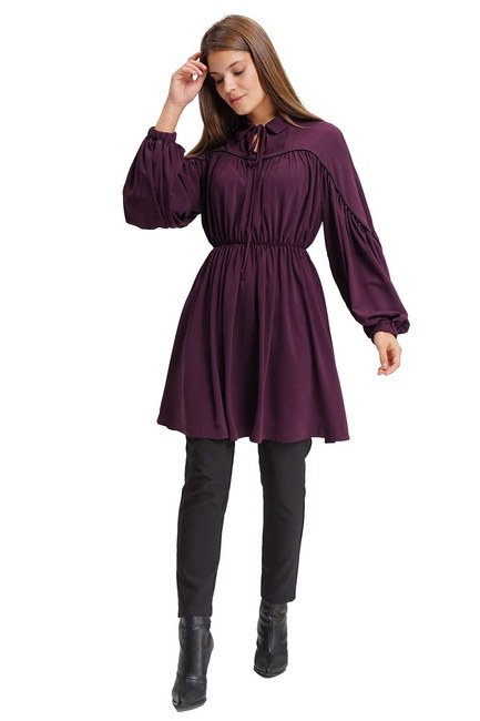 MIZALLE Piped Blouse (Purple)
