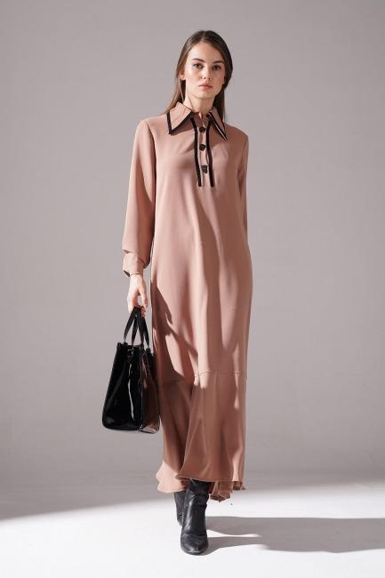 Mizalle - Biyeli Krep Elbise (Camel)