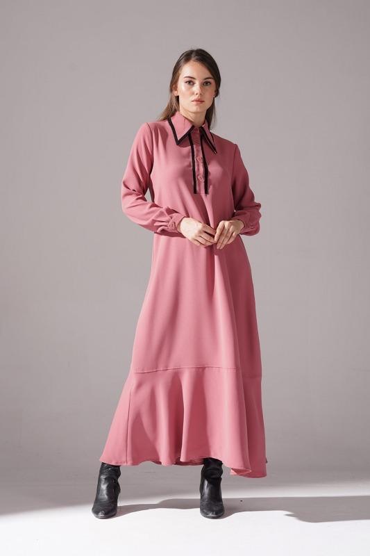 Biyeli Krep Elbise (Gül Kurusu)
