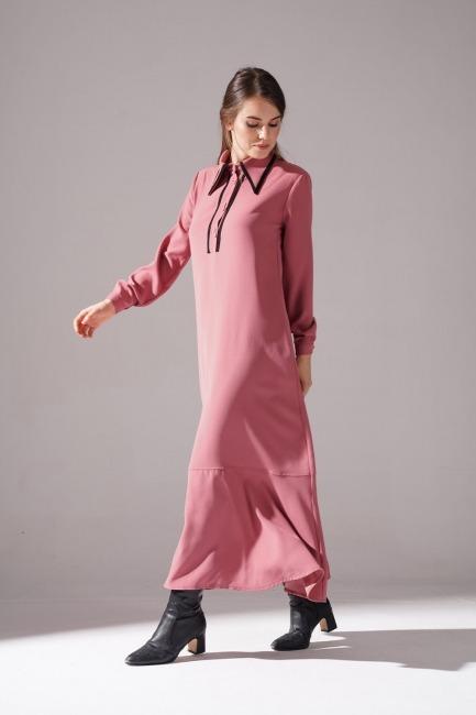 Biyeli Krep Elbise (Gül Kurusu) - Thumbnail