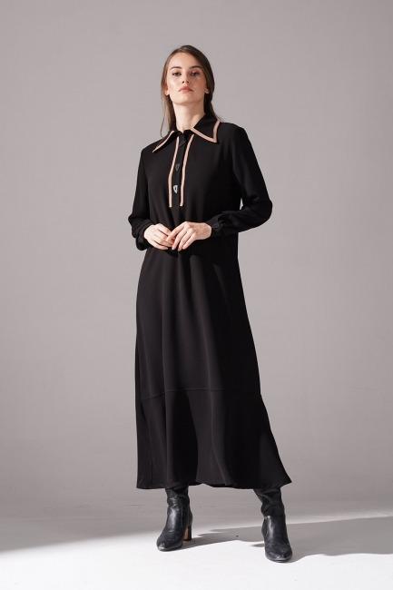 Mizalle - Biyeli Krep Elbise (Siyah)