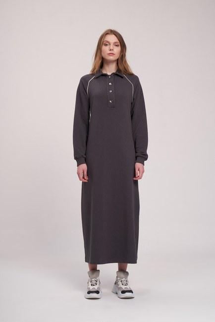 Mizalle - Biyeli Polo Yaka Sweat Antrasit Elbise