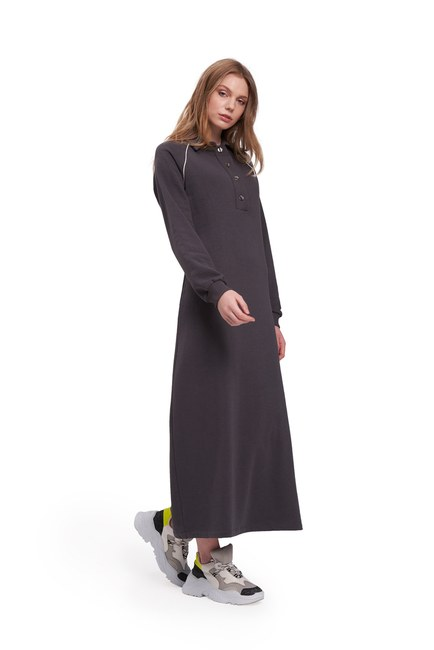 Biyeli Polo Yaka Sweat Antrasit Elbise - Thumbnail